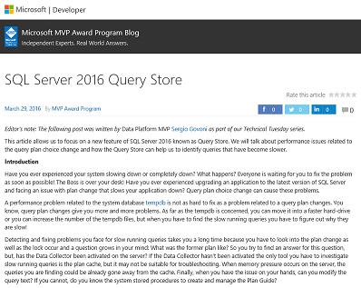 SQL Server 2016 Query Store (MVP Blog) M
