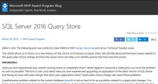 SQL Server 2016 Query Store (MVP Blog) S