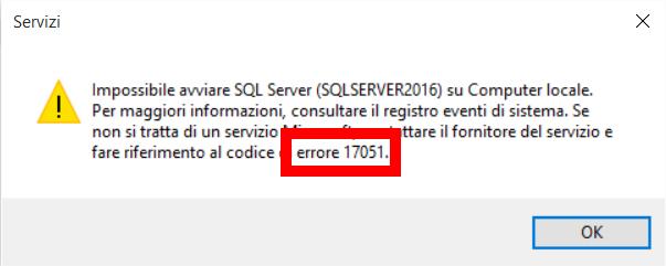 SQLServer 2016 non si avvia 3
